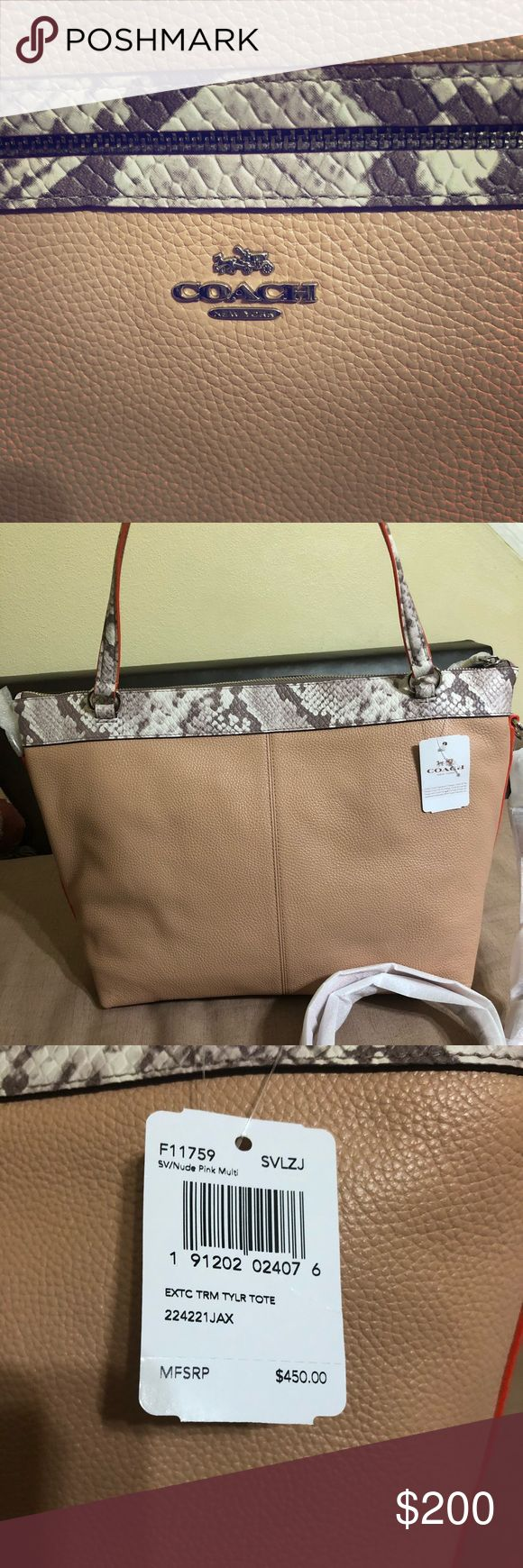 Coach F11759 Taylor Tote Nude Pink Leather Satchel Authentic Coach Embossed Leather-Nude/ pink Color/Exotic Embossed Leather Trim in Python Print . NEW NEVER USED ! Coach Bags Totes