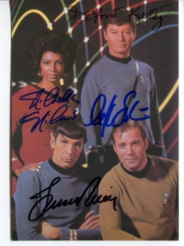 ORIGINAL cast of 4 STAR TREK hand signed AUTOGRAPH G573