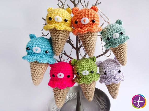 Bear Ice Cream Amigurumi  Crochet Keychain