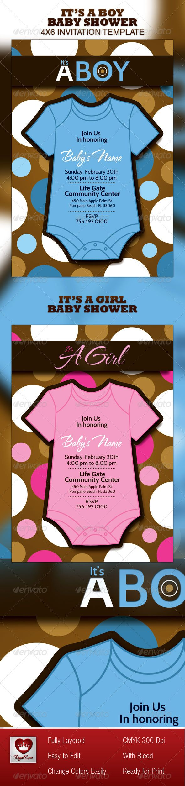Boy U0026 Girl Baby Shower Invitation Template