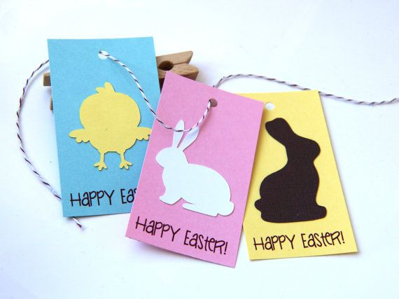 Bunny & Chick Easter Tags or Package Labels Qty. 6 by scrapbits
