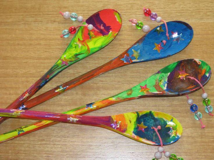Homemade Den Den Drum using a wooden spoon. {learning4kids}