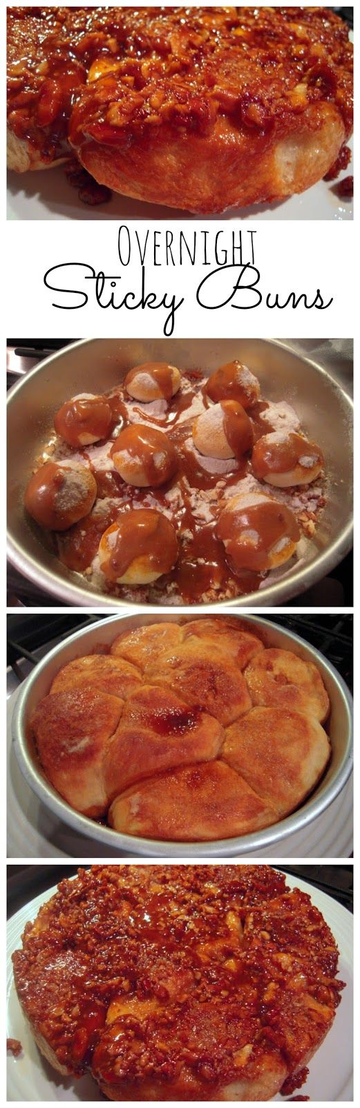 Overnight Sticky Buns: 1/4 cup chopped pecans , 9 frozen dinner rolls (Rhode's) , 1/2 package of butterscotch cook & serve pudding (not instant) , 1/4 cup butter , 1/4 cup brown sugar