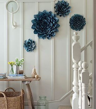 #white #paneled #wall #blue #flower #wall #hanging #interior #ideas #home #styling