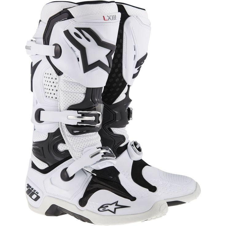 2014 New Tech 10 Motocross Boots - White - 2014 Alpinestars Motocross Kit - 2014 Motocross Gear - by Alpinestars - 2014