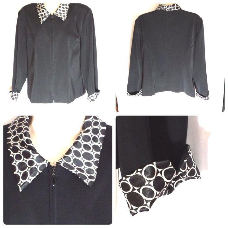 Jessica Howard Women's Petite PL Jacket Blazer Black White Zip Up Flip-up Cuff  #JessicaHoward #Blazer