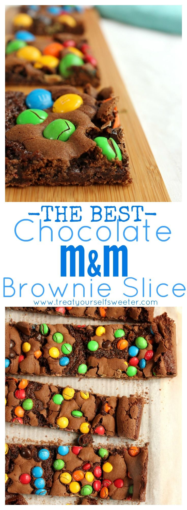 Crunchy Chewy Chocolate M&M Brownie Slice; Crunchy chocolate brownie crust, a soft and chewy center and pops of colour and chocolate with M&Ms on top.