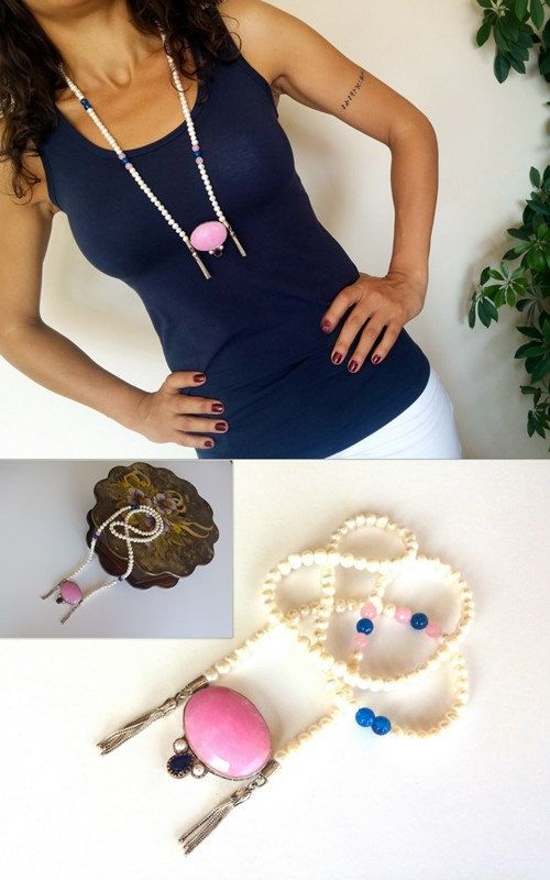 Pearl Necklace, Sterling Silver With Pink Quartz Pendant, Handmade Pure Silver and Pearl Necklace, Tassels Necklace, Blue Agate, Gemstone, - pinned by pin4etsy.com