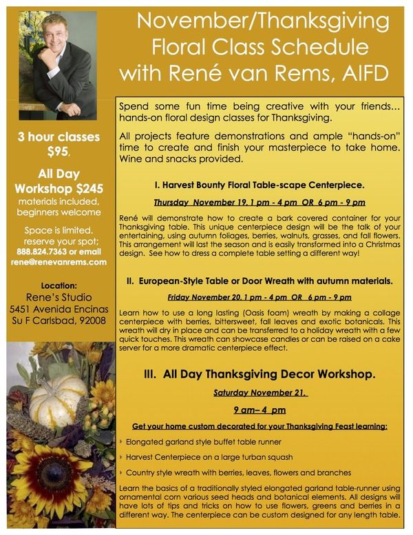 Fall/Thanksgiving workshops with Rene van Rems AIFD