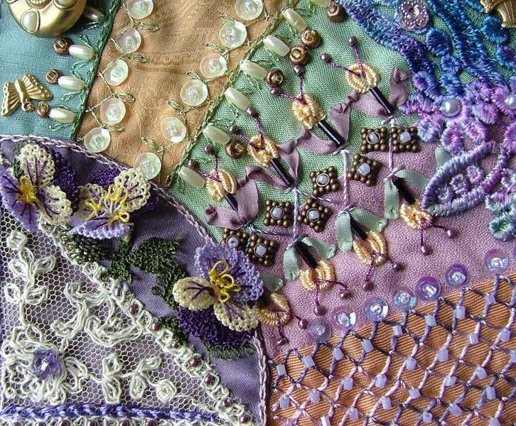 Crazy Patchwork - I wasn't sure whether to list this under quilting or embroidery.