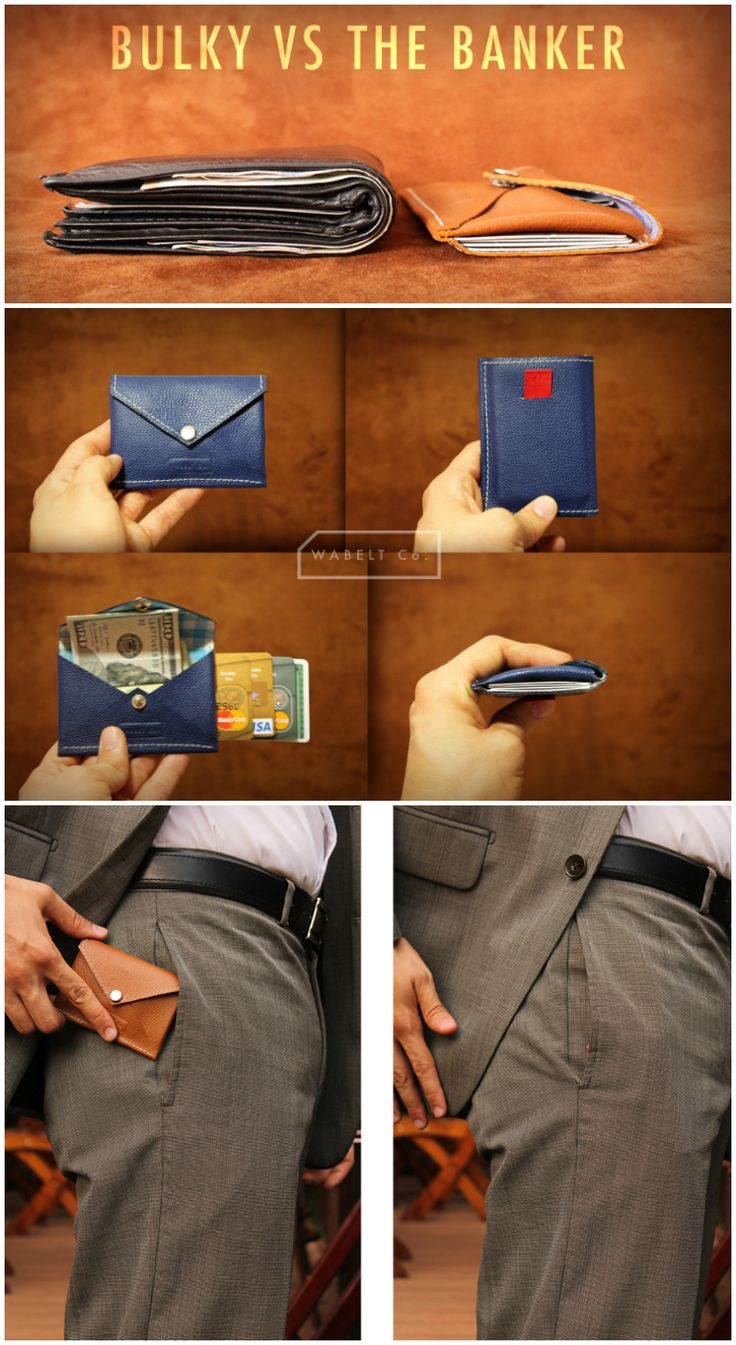The Banker Wallet combines a leather pouch with custom lining with a card storage sleeve that comes with a pull tab for quick access to all your cards.
