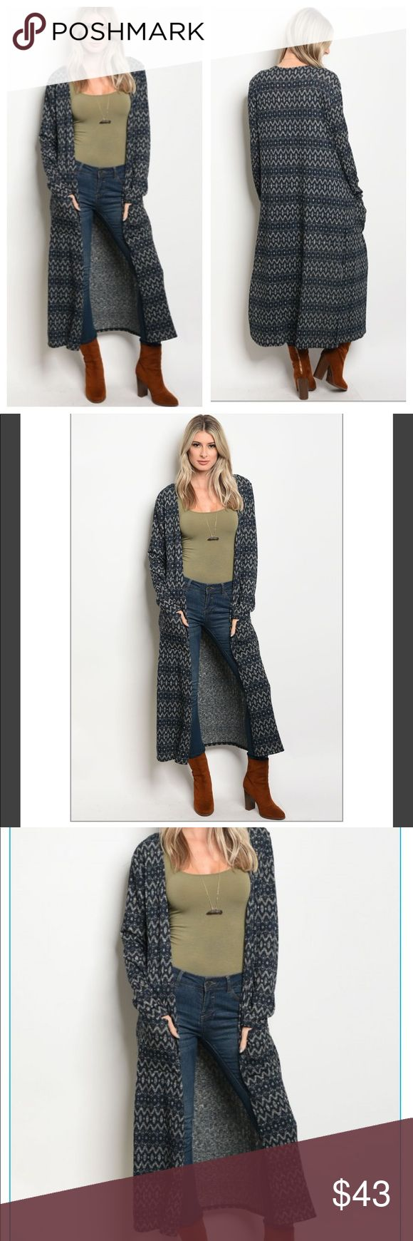 "NEW !! Navy and gray Duster Cardigan NWT! Navy and gray Long cardigan. 2 front pockets. Has a boho look with an easy flow. Features side-slit for easy movability. Lightweight . I'm 5'3"" in the first pic. Boutique Sweaters Cardigans"