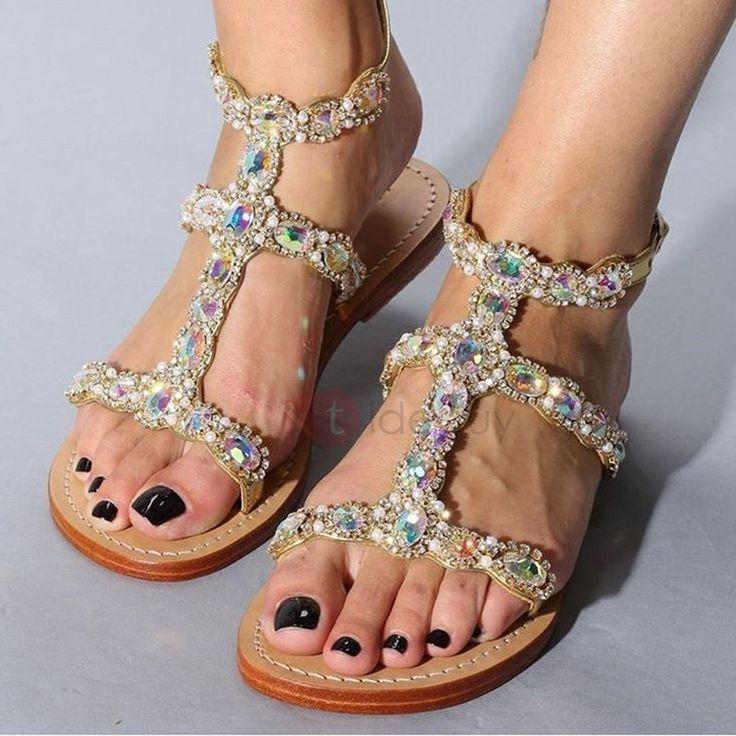 PU Rhinestone Buckle Toe Ring Strappy Flat Sandals