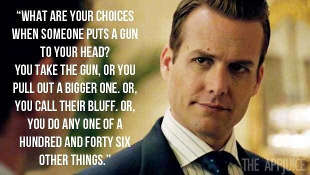 analyzing harvey specter Harvey specter redefines the boring art of litigation into something which is a war everything is a win loss situation harvey rarely goes to court, he likes to.