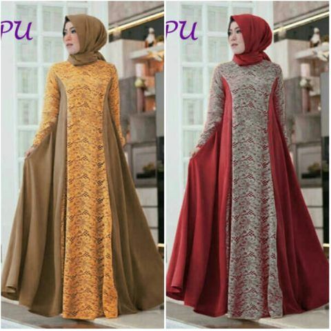 Model Baju Muslim Modern Kombinasi Brokat B135 Https