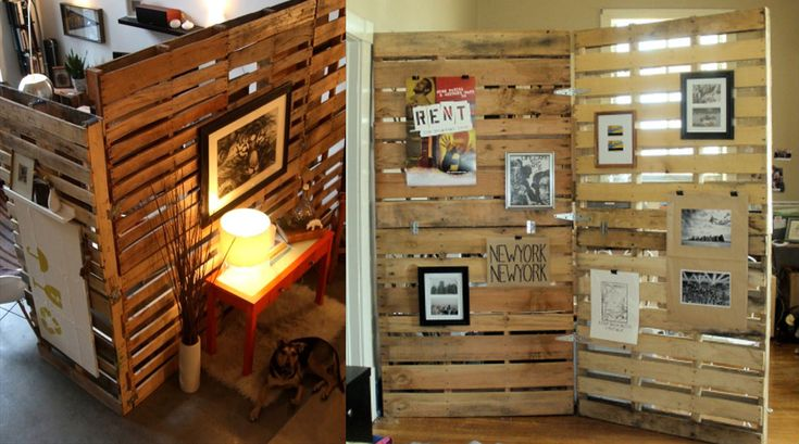 Wood Pallet Room Divider | Creative Room Divider / Office Screen Partition Ideas