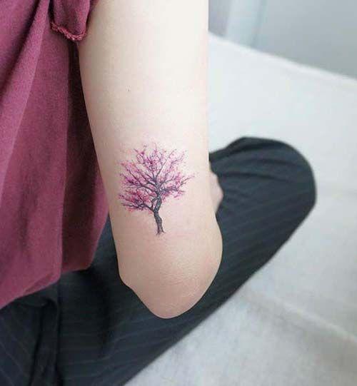 pembe ağaç dövmesi pink tree tattoo