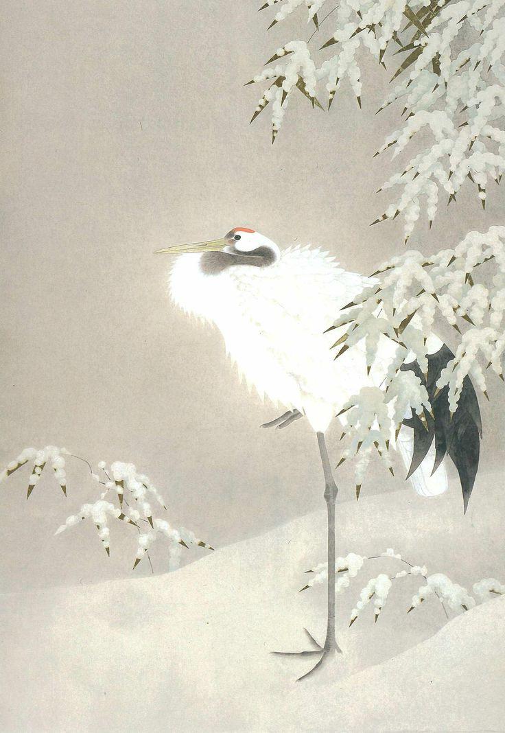 Japanese Watercolor Crane   Crane' (1980) by Shoko Uemura   SHOHAKU ARTMUSEUM