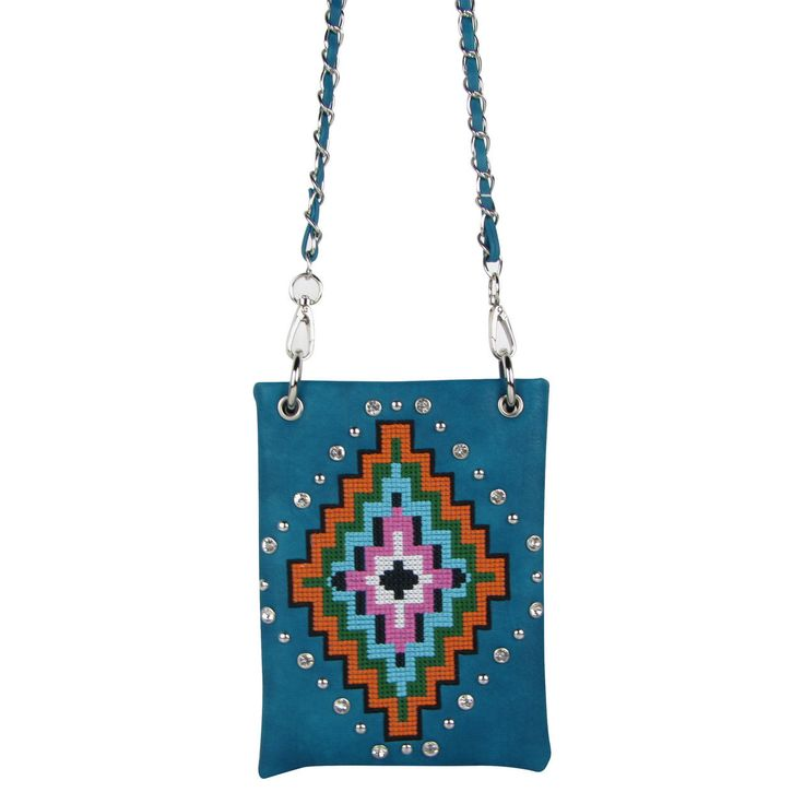 Turquoise Tribal Look Mini Messenger Bag Satchel Western Cross Body Montana West