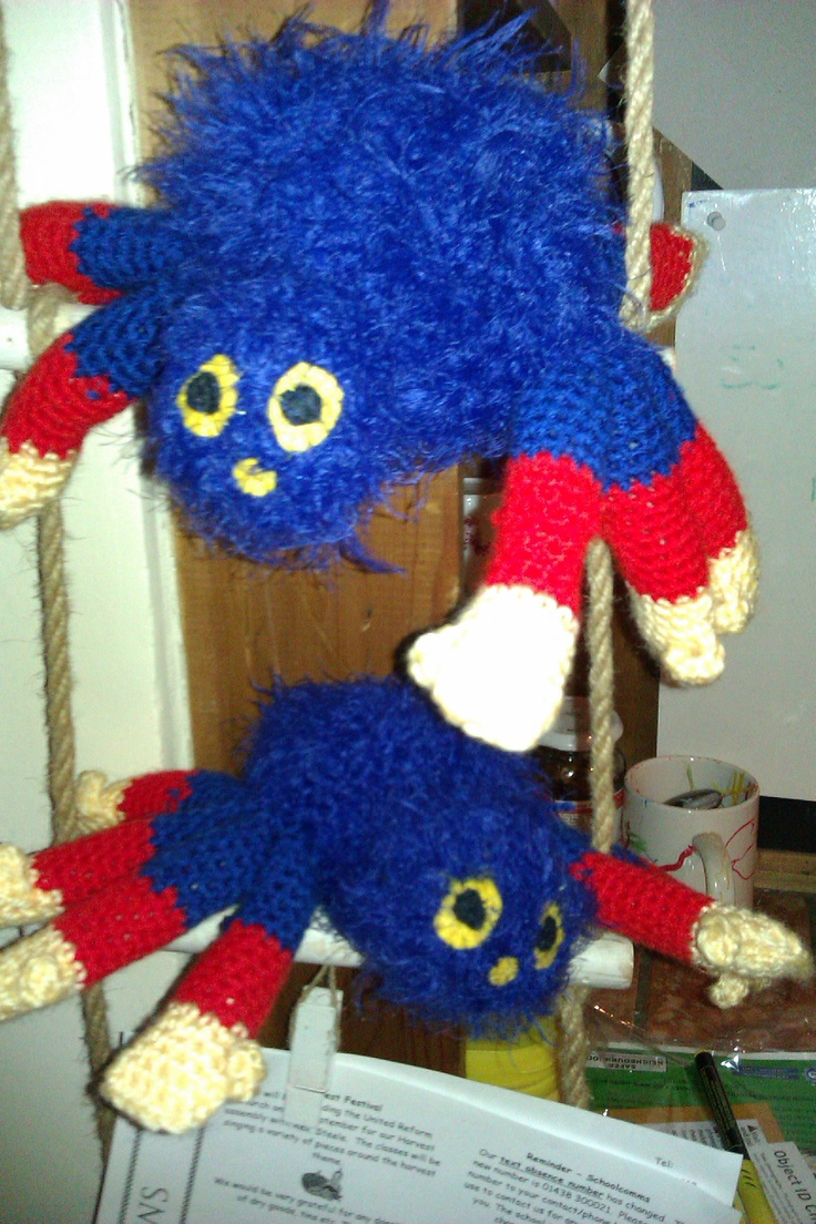 Crocheted Snuggle Wooly the Spider he is best friends with Wooly the Spider on CBeebies x