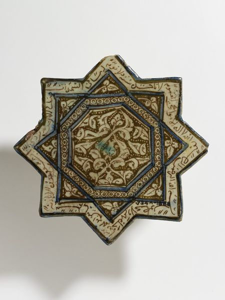Tile      Place of origin:      Kashan, Iran (made)     Date:      early 14th century (made)     Artist/Maker:      unknown (production)     Materials and Techniques:      Fritware, glazed and painted in turquoise, cobalt blue and lustre     Museum number:      734A-1888