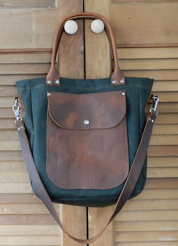 waxed canvas leather tote bag by LocknKeyLeathers on Etsy, $125.00