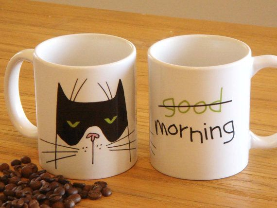Good Morning Boo Cat Coffee Mug by soobeeart on Etsy