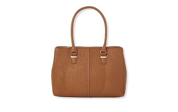 "Tan Compartment Bag. ""Chic and simple, a tan bag will never go out of style."""