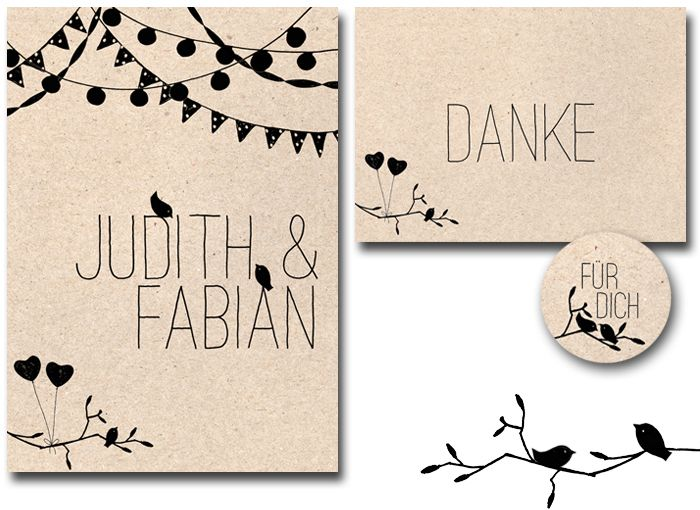 bastisRIKE: Hochzeit-Stempel-Set JUDITH // wedding rubber stamp-set JUDITH
