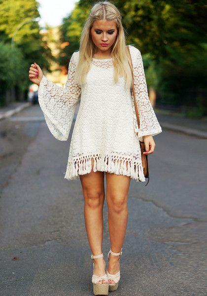 Crochet Short Tassels Dress - Beige