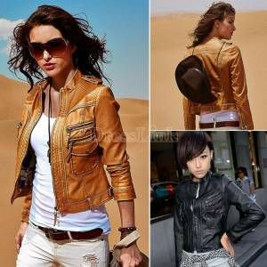 2014 Cool New Motorcycle Faux Leather Jacket Women Jackets Ladies Coat Outerwear