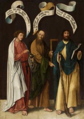 Jan Joest (Netherlandish, 1455-1519). Three Apostles: St. John the Evangelist, St. Thomas, and St. James the Less with the Apostles' Creed, 1500-1519. The University of Michigan Museum of Art, Michigan. Museum Purchase, 1973. http://www.umma.umich.edu