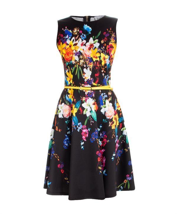 Joseph Ribkoff Jurk zwart multicolor bloemen print Van Tilburg dress black multicolor floral print