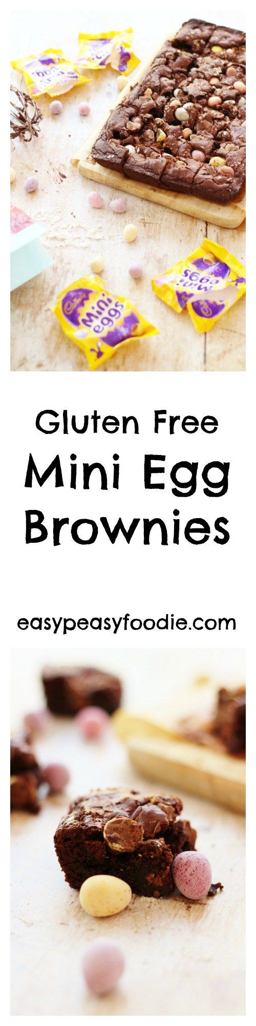 A really easy recipe for gluten free Mini Egg Brownies that are deliciously fudgy and chewy on the inside and crunchy on the outside, stuffed full of little mini eggs, making them perfect for Easter!