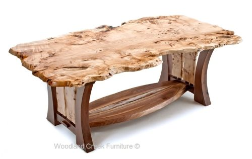 Natural Live Edge Burl Wood Slab Table with Unique Black Walnut Base. Available custom made sizes.