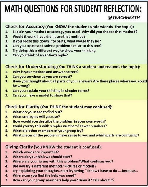Questions for student reflection #learnmathforadults