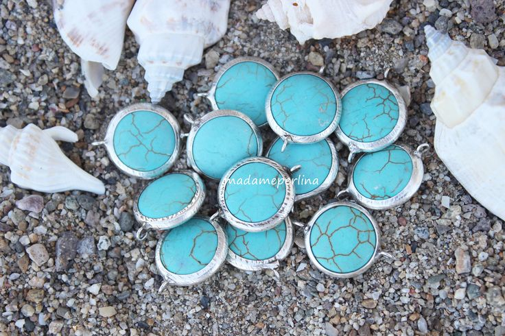 turquoise connector beads bezel 22mm blue round coin link gemstone station silver plated turkish supplies by madameperlina on Etsy