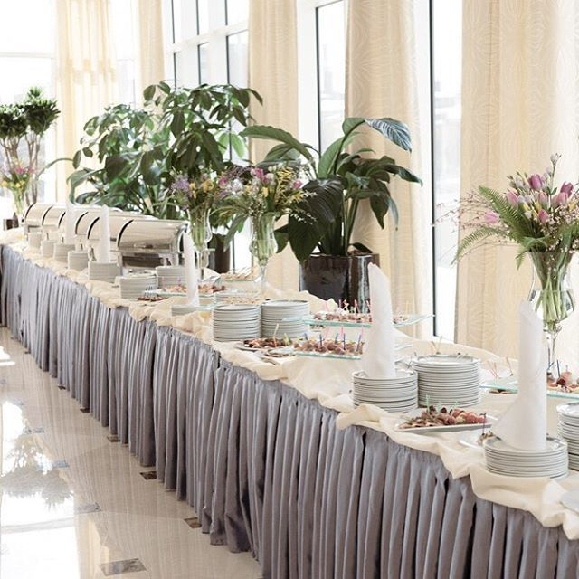 Who Said Your Buffet Table Can T Be As Fabulous As Your Reception Table Add Our Shirred Pl In 2020 Buffet Table Decor Wedding Buffet Table Wedding Buffet Table Decor