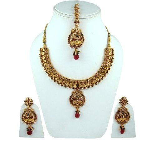 India Fashion Polki Jewelry Faux Green Red Stone Studded Necklace Earring Jewelry Sets: Jewelry: Amazon.com  $69.99
