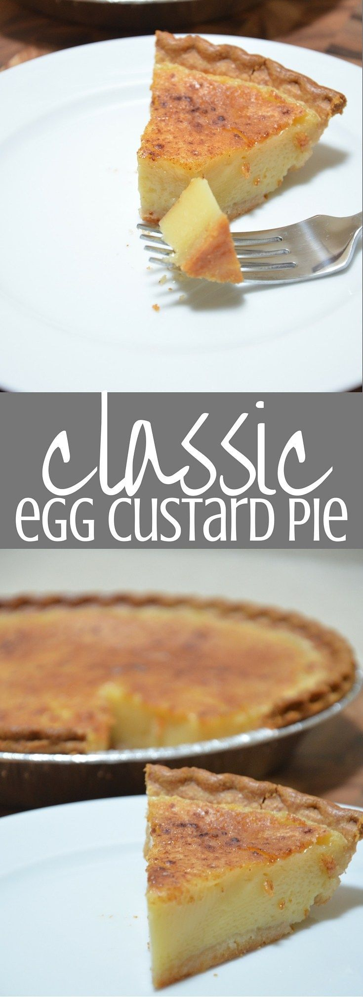 Egg Custard Pie. This is a favorite in our family - my mom makes it every year for Thanksgiving and everyone fights over it. Clickthrough for the full recipe and more great dessert ideas!