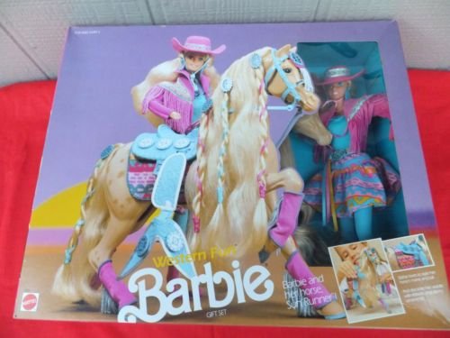 Western-Fun-Gift-Set-Barbie-and-Her-Horse-Sun-Runner-Vintage-1990-NRFB-MIB