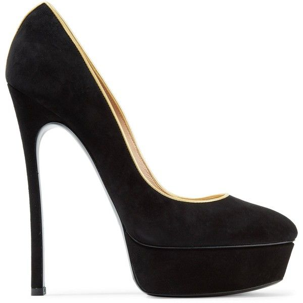 CASADEI  Metallic leather-trimmed suede platform pumps (69105 RSD) ❤ liked on Polyvore featuring shoes, pumps, slip-on shoes, platform pumps, suede platform pumps, black pumps and suede pumps