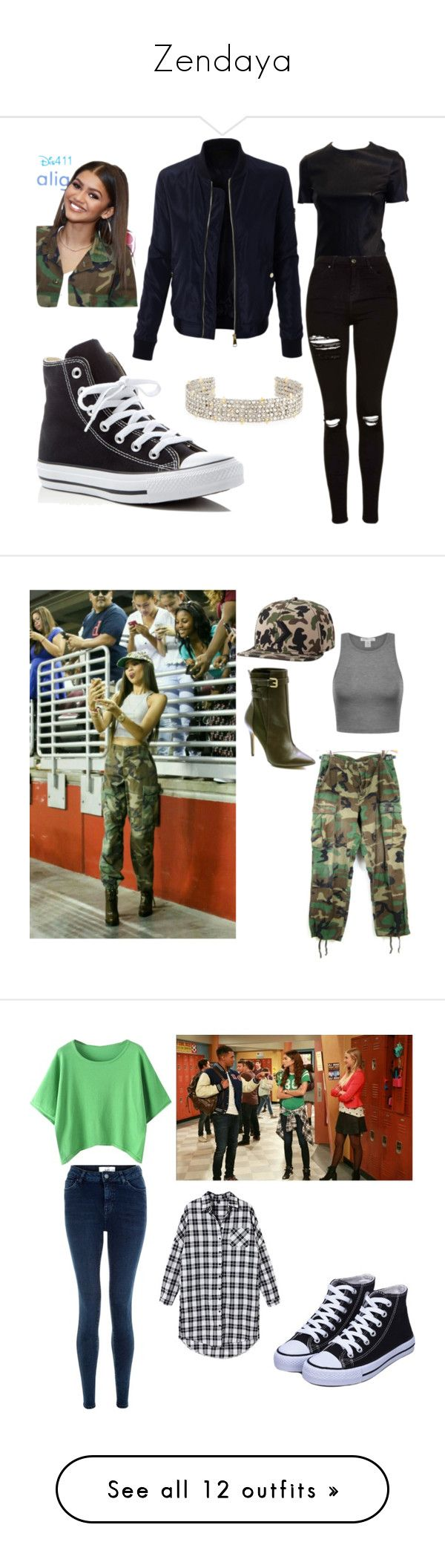 """Zendaya"" by simina650 ❤ liked on Polyvore featuring LE3NO, Topshop, Converse, Alexis Bittar, Charles by Charles David, New Look, H&M, Coleman, Yves Saint Laurent and River Island"