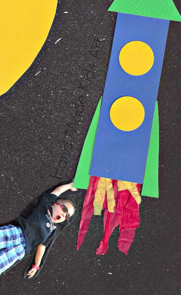 Blast Off in to Space with this Easy Art Project for Kids. My son loved incorporating his own photo in his artwork!