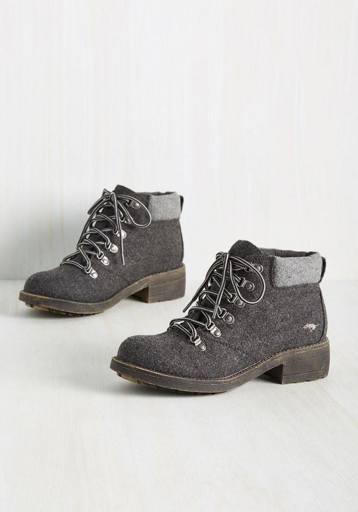 The Walking Tread Boot. Take charge of your ensembles flair by lacing into these charcoal ankle boots. #grey #modcloth