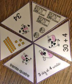 Jeu: les représentations d'un nombre. Jeu très rigolo et facile à faire: LEs vaches dans l'hexagone. Pour travailler la numération, les décompositions, l'écriture littérale des nombres. cp ce1