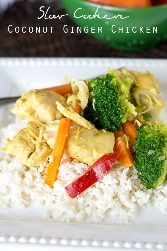 "Slow Cooker Coconut Ginger Chicken on MyRecipeMagic.com. If you love comforting, creamy chicken dishes, you'll love this Slow Cooker Coconut Ginger Chicken. It's a simple dinner that is paleo, grain free, dairy free and sugar free. Plus, it's a great ""leftovers"" dish! #whole30 #cleaneating"
