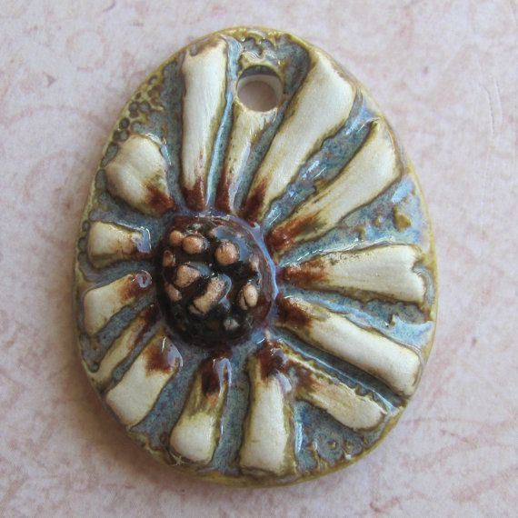 Ceramic  Pendant   Hand carved Daisy by marlasmud on Etsy