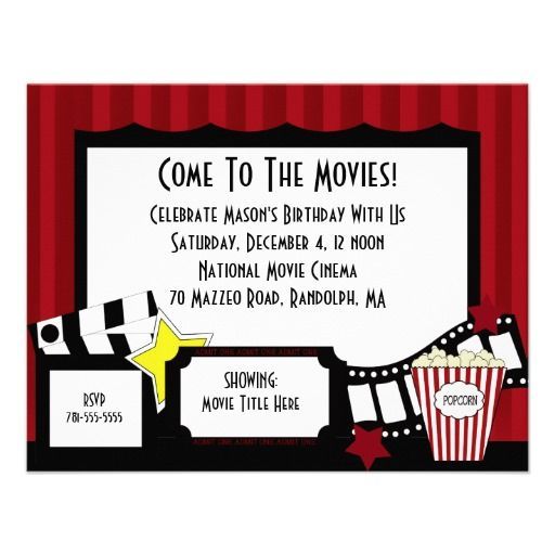 16 Best Movie Birthday Party Invitations Images On Pinterest   Movie Ticket Invitation  Template Free Printable  Movie Invitation Template Free