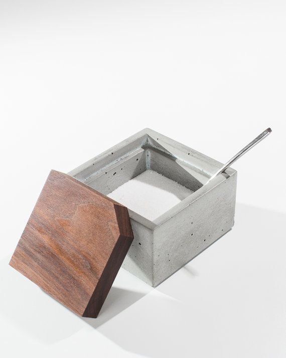 Square Concrete Salt Box with Dark American Walnut Wood Lid/ Salt Cellar/ Minimalist Concrete box with lid